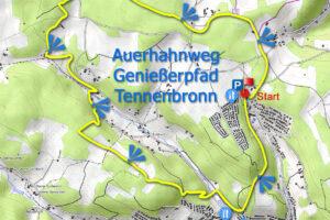 Karte Auerhahnwanderweg Tennenbronn